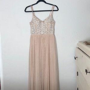 BHLDN champagne sequin dress.